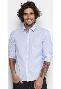 Camisa Ellus Slim Fit Maquinetada Poá Masculina - Masculino