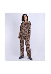 Pijama De Fleece Feminino Estampado Animal Print Com Botões Manga Longa Rosa