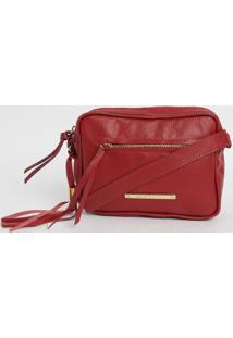 Bolsa Em Couro Matelass㪠Com Bag Charm- Vermelha- 16Di Marlys