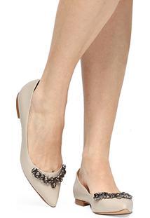 Sapatilha Couro Shoestock Pedraria Feminina - Feminino-Off White