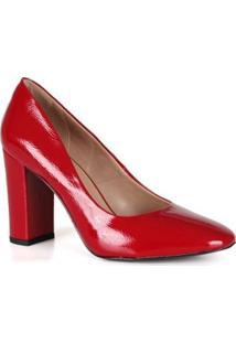 Scarpin Feminino Verniz Bico Redondo Spaço Criativo - Feminino-Vermelho