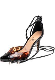 Sapato Scarpin Salto Alto Em Verniz Preto Com Vinil Onã§A - Onã§A - Feminino - Dafiti