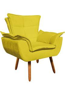 Poltrona Decorativa Opala Suede Amarelo - D'Rossi