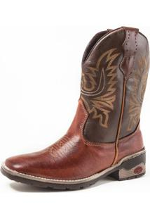 Bota Fran Boots Texana Country Cano Longo Marrom