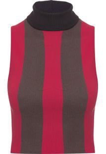Cropped Tricot Gola - Vermelho