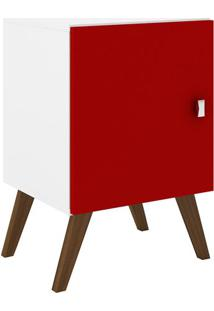 Rack Auxiliar - Branco & Vermelho - 57X40X37Cmmovel Bento