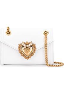 Dolce & Gabbana Bolsa Tiracolo Devotion Mini De Couro - Branco