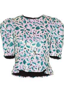 Rotate Blusa Com Aplicação De Paetês - Verde