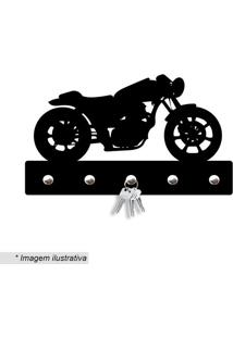 Porta Chaves Moto Antiga- Preto- 12X20Cm- Wevanswevans