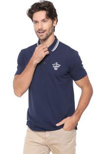 Camisa Polo Malwee Reta Bordada Azul-Marinho