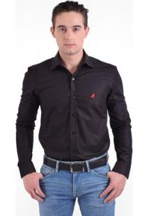 Camisa Social Masculina - Slim - Masculino-Preto