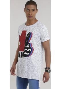 Camiseta Longa Com Estampa Off White