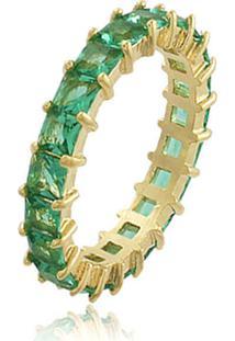 Anel Viva Jolie Riviera Quadradinhos Esmeralda Fusion Banho Em Ouro