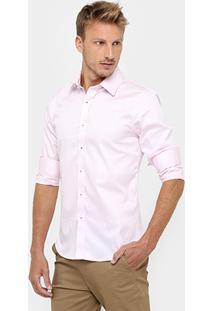 Camisa Sergio K. Regular Fit Vista Listras - Masculino-Rosa