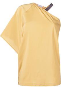 Brunello Cucinelli Blusa Assimétrica Drapeada - Amarelo