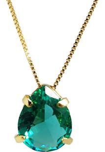 Corrente Kumbayá Com Pingente Gota Banho De Ouro 18K Cristal Verde Esmeralda Com Corrente Veneziana