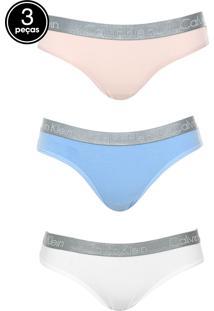 Kit 3Pçs Calcinha Calvin Klein Underwear Tanga Logo Azul/Bege/Branca