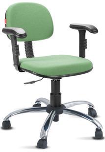Cadeira Escritório Verde Claro Cromada Com Braços