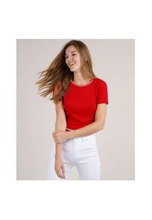 Blusa Feminina Cropped Canelada Manga Curta Decote Redondo Vermelha