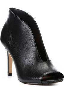 Ankle Boot Couro Shoestock Vamp Salto Fino - Feminino