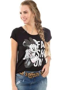 Blusa Estampada Com Pedraria Preto Disney