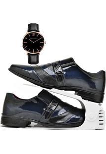 Kit Sapato Social Verniz Com Organizador E Relógio King Dubuy 632Db Azul - Kanui