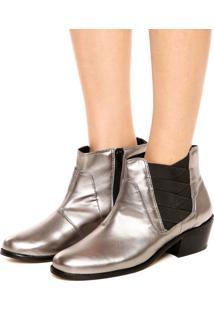 Bota Dafiti Shoes Elásticos Prata Velho