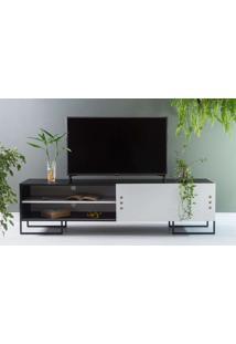 Rack Para Tv Preto Estilo Industrial Pés De Metal Moderno Porta De Correr Branca Crosby 183X43,6X48,5 Cm
