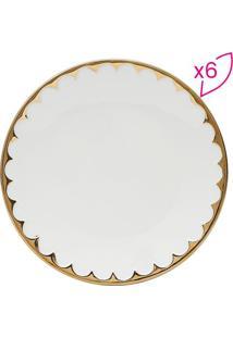 Jogo De Pratos Rasos Egg- Branco & Dourado- 6Pçsrojemac