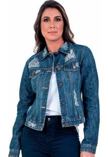 Jaqueta Jeans Bloom Destroyed Avesso Estampado Azul