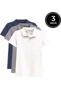 Kit De 3 Camisas Polo Femininas De Várias Cores Br