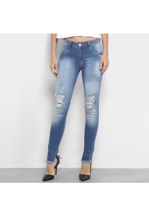 cbf8b53f2 ... Calça Jeans Skinny Biotipo Estonada Rasgos Fenda Cintura Média Feminina  - Feminino-Azul