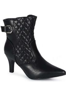 Ankle Boots Feminina Mooncity Matelassê Preto