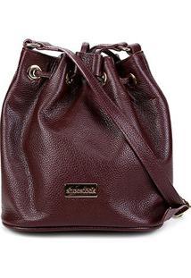 Bolsa Couro Shoestock Bucket Relax Feminina - Feminino-Vermelho