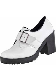 Bota Cano Curto Verniz Dr Shoes Branco - Branco - Feminino - Verniz - Dafiti