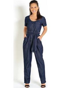 Macacão Jeans Com Amarração Na Cintura