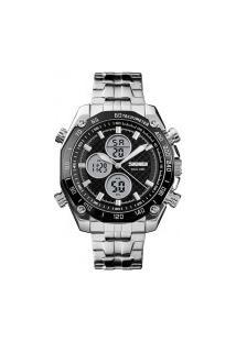 Relógio Skmei Masculino -1302- Prata E Preto