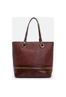 Bolsa Grande Shopper Com Textura   Satinato   Marrom   U