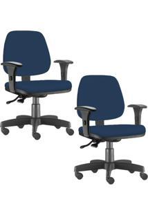 Kit 02 Cadeiras Giratã³Rias Lyam Decor Job Suede Azul Marinho - Azul - Dafiti