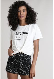 """Blusa Feminina """"Eternal"""" Com Amarração Manga Curta Decote Redondo Off White"""