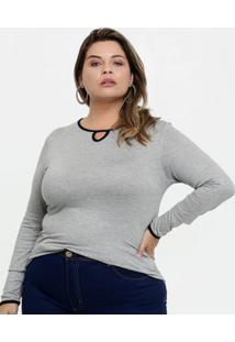 Blusa Feminina Vazada Plus Size Manga Longa