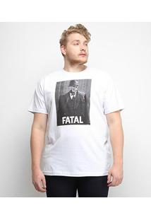Camiseta Fatal Caveira Plus Size Masculina - Masculino-Branco