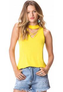 Blusa Viscose Amarela Sem Manga Com Tiras
