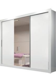 Guarda Roupa Amapá 3 Portas Com 1 Espelho Branco Brilho