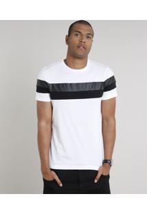 Camiseta Masculina Slim Fit Com Recortes Manga Curta Gola Careca Branca