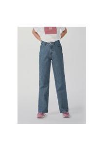 Calça Feminina Reta Cintura Super Alta Em Jeans