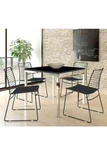 Mesa 1525 Cromada Com 4 Cadeiras 1712 Color Uv Preta Carraro