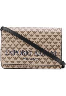 Emporio Armani Logo Print Shoulder Bag - Marrom