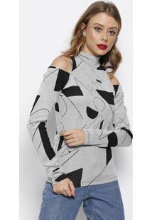 Blusa Canelada Com Ombros Vazados- Preta & Branca- Fforum