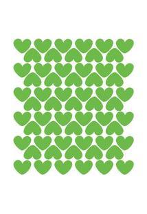 Adesivo De Parede Infantil Corações Verde Claro 55Un
